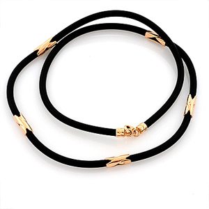 Шнурки каучуковые с золотыми вставками